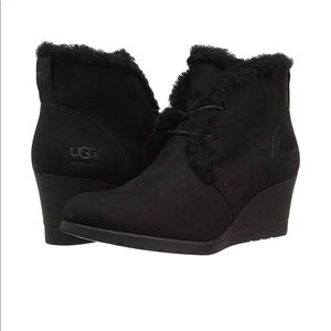 UGG Jeovana Lace Up Wedge Booties - Black Size: 8